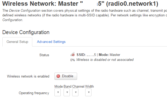 Radio0 network1 disabled and settings blank - Turris Omnia - Turris