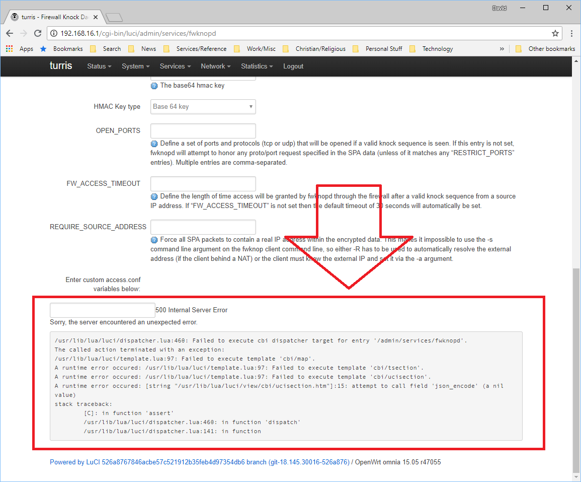 Luci-app-fwknopd Bug - SW bugs discussion - Turris forum