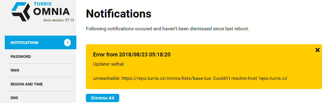 Updater fails: unable to resolve host address 'repo turris cz' - SW