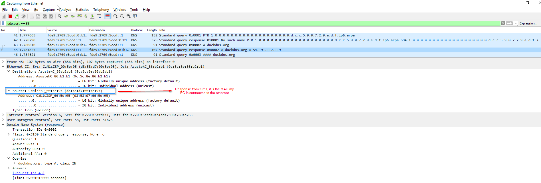 DNS on omnia not resolving duckdns org, from client works